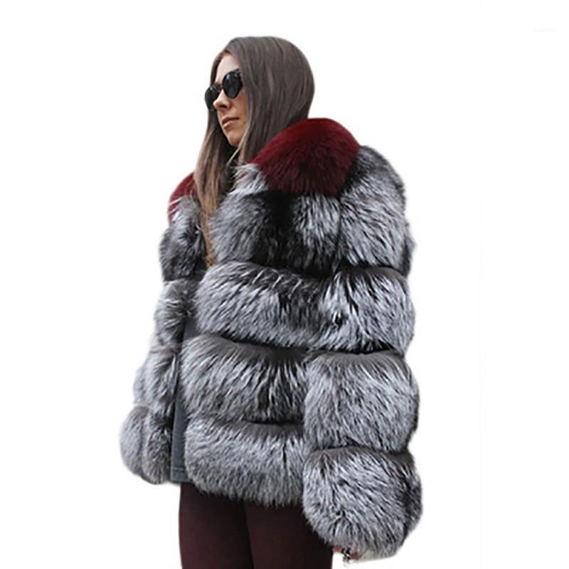 Coats Moda Kadın Kontrast Renk Hırka Coats Tasarımcı Bayan Faux Kürk Palto Lüks Kabarık Kış Sıcak