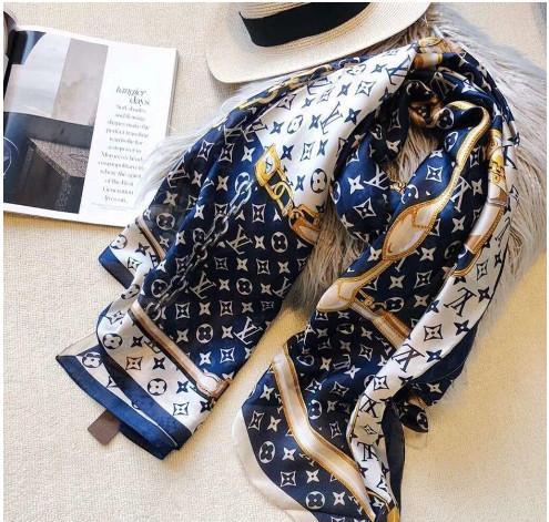 Frühling Seidenschal 2019 heiße Frauen Brief Schal Schal Art und Weise langer Halsring Weihnachtsgeschenk Großhandel 180x90cm oben