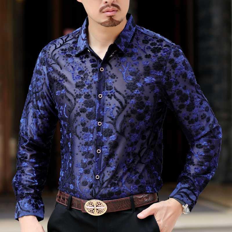 الرجال من خلال الاطلاع على قميص 2019 حزب الخريف قمصان الرجال قميص أوم كم طويل الأعمال عارضة قميص شفاف مثير البحرية