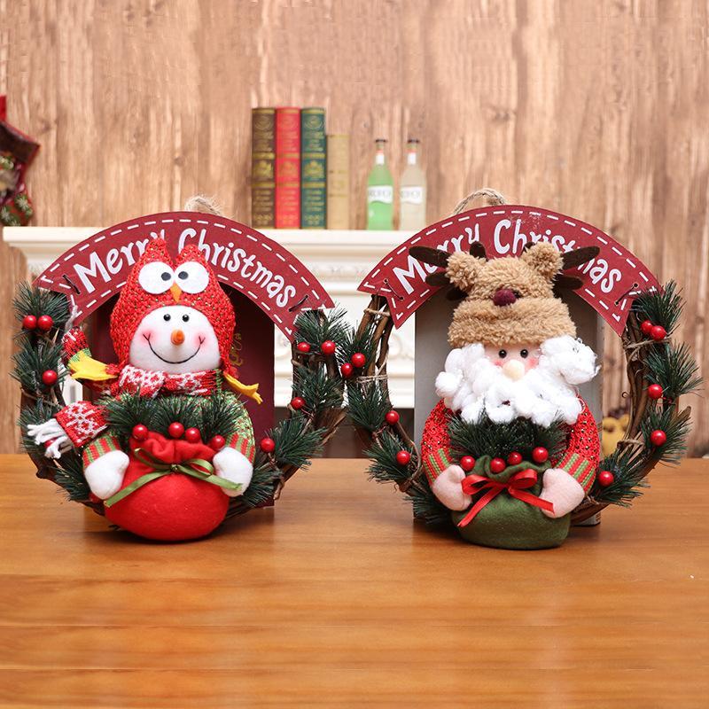 Décorations de Noël poupées poupées guirlande de Noël petites fournitures de décoration pendaison porte pendentif anneau en rotin grande guirlande