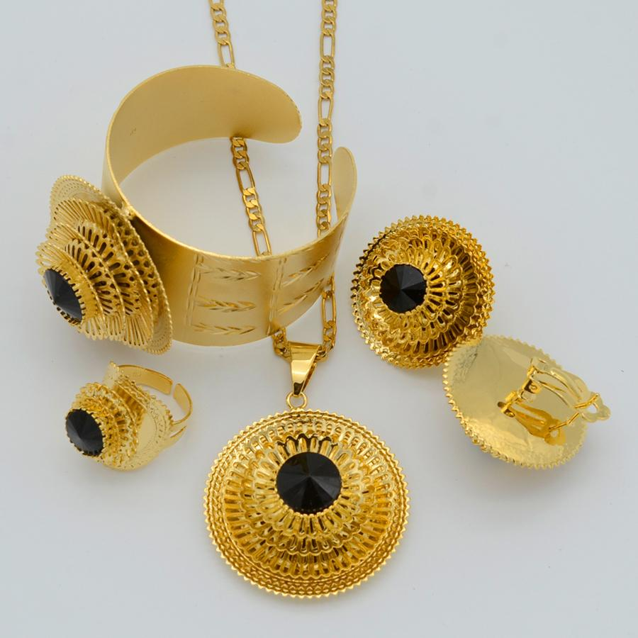 Anniyo Ethiopian Jewelry set Gold Color Pendant Necklace/Earrings/Ring/Bangle Eritrean African Habesha Wedding Gifts #047311