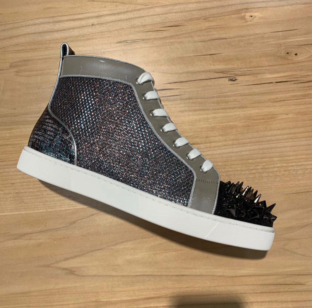 De luxe en cuir clouté High Top rouge mens baskets bas brevet gris Glitter Orlato chaussures formateur de loisirs Walking Casual 35-47