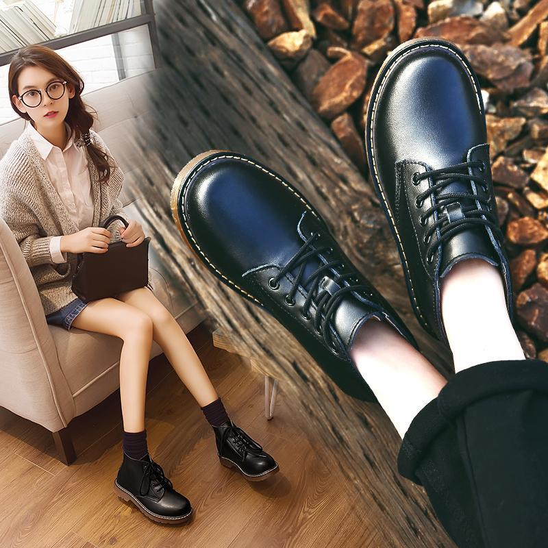 2019 dedo del pie de los cargadores del tobillo de las mujeres del invierno del cuero genuino con cordones de las botas de trabajo de las señoras redonda zapatos de otoño Negro Mujer Moda mantener caliente