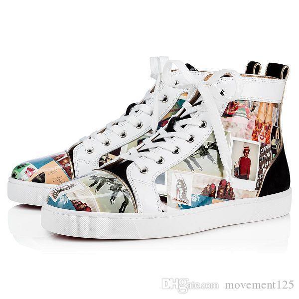 New Season Chegada couro envernizado Graffiti Spikes Orlato sapatilha High / Low top Red Sneakers inferior para mulheres, homens Casual Walking Shoes