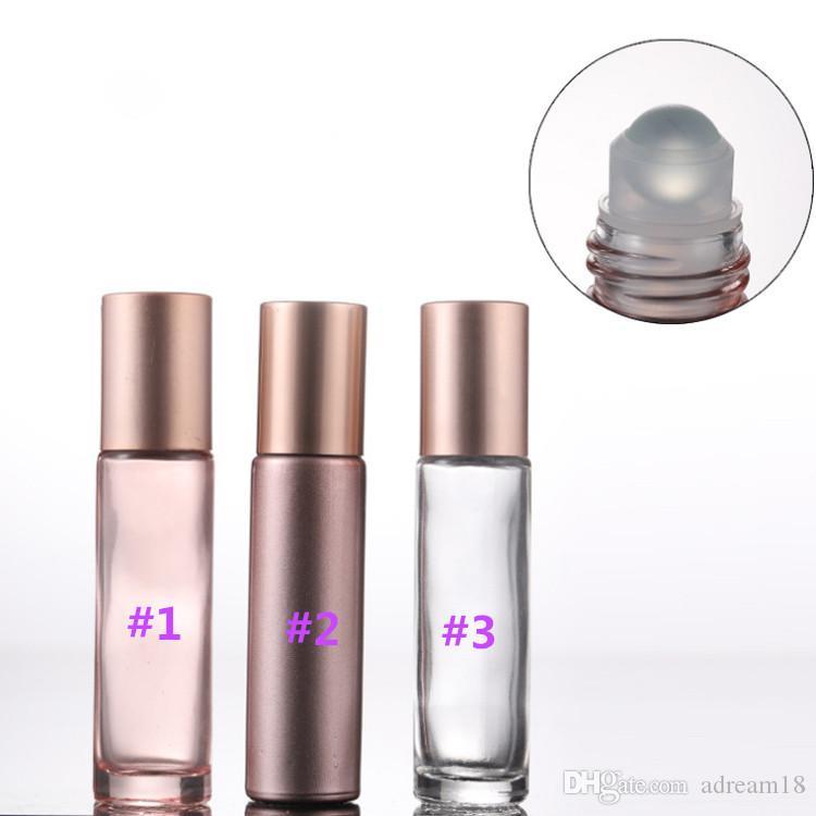 Neueste löschen halbe Rosa Glas Roll On Flaschen 10ml mit Glas Roller Metallwalze und rosa Cap