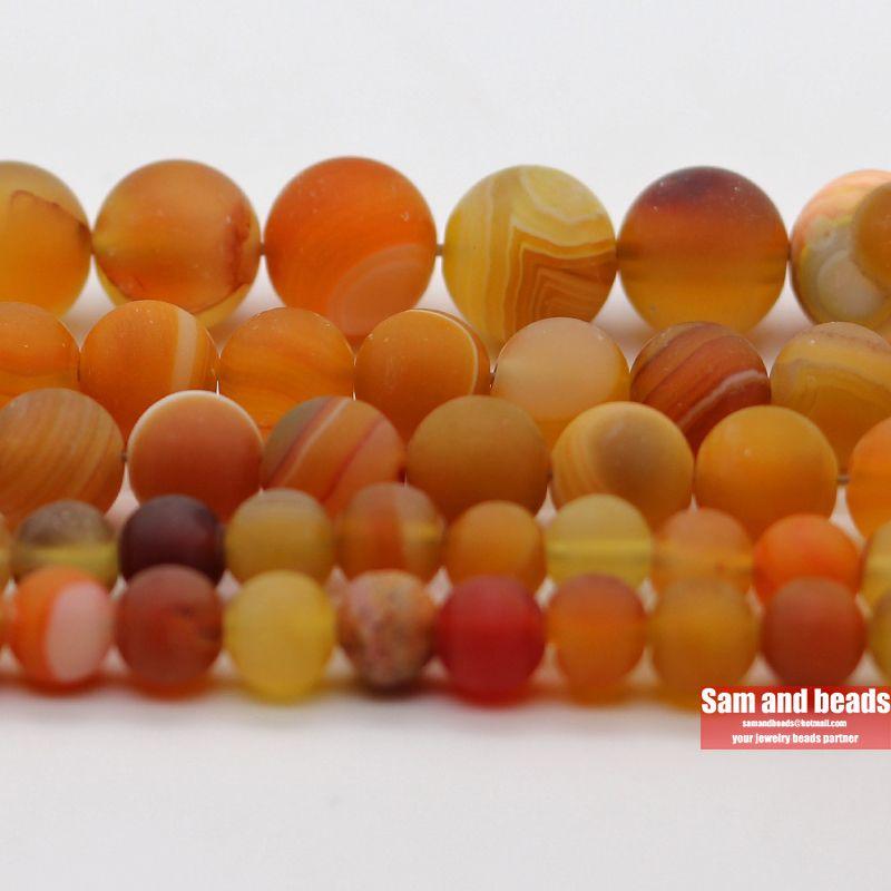 Vente en gros naturel pierre Dull polonais mat orange à rayures agates perles rondes en vrac pour la fabrication de bijoux DMS16
