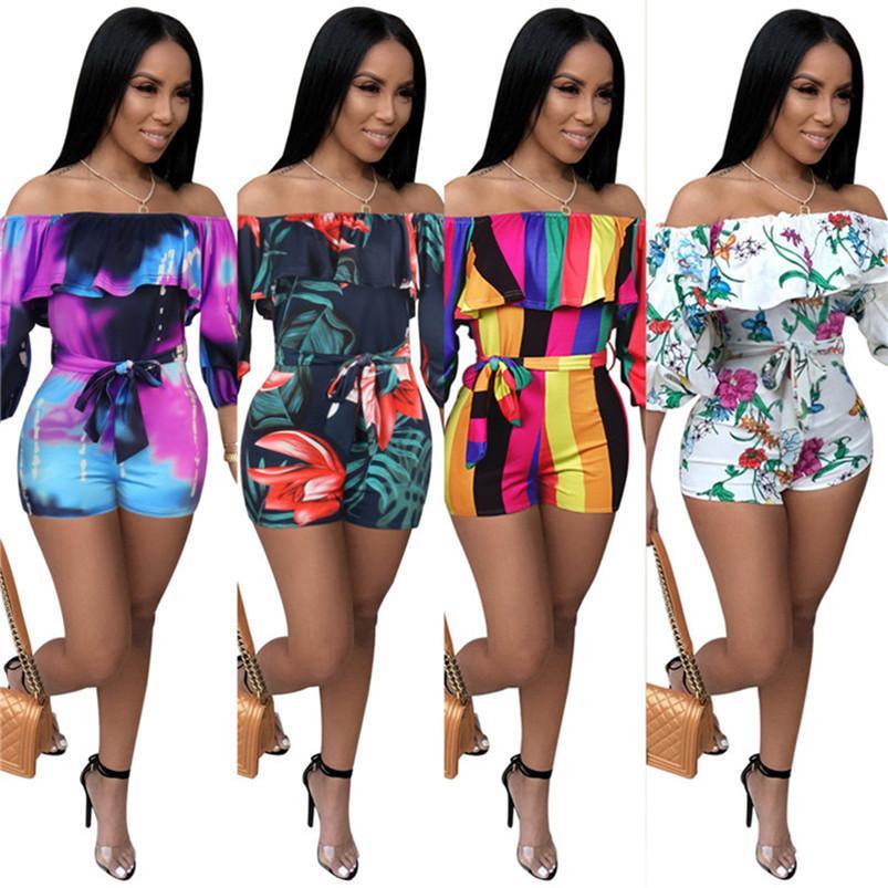 pour femmes de les barboteuses une pièce d'impression de mode combishort femmes salopette lambrissée vêtements d'été Combi-pantalons de klw3954