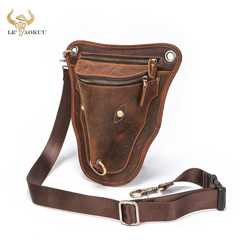 Couro homens originais Brown Casual Shoulder Moda Pequeno Messenger Bag Designer Viagem Belt cintura pack gota bolsa de perna Masculino 833