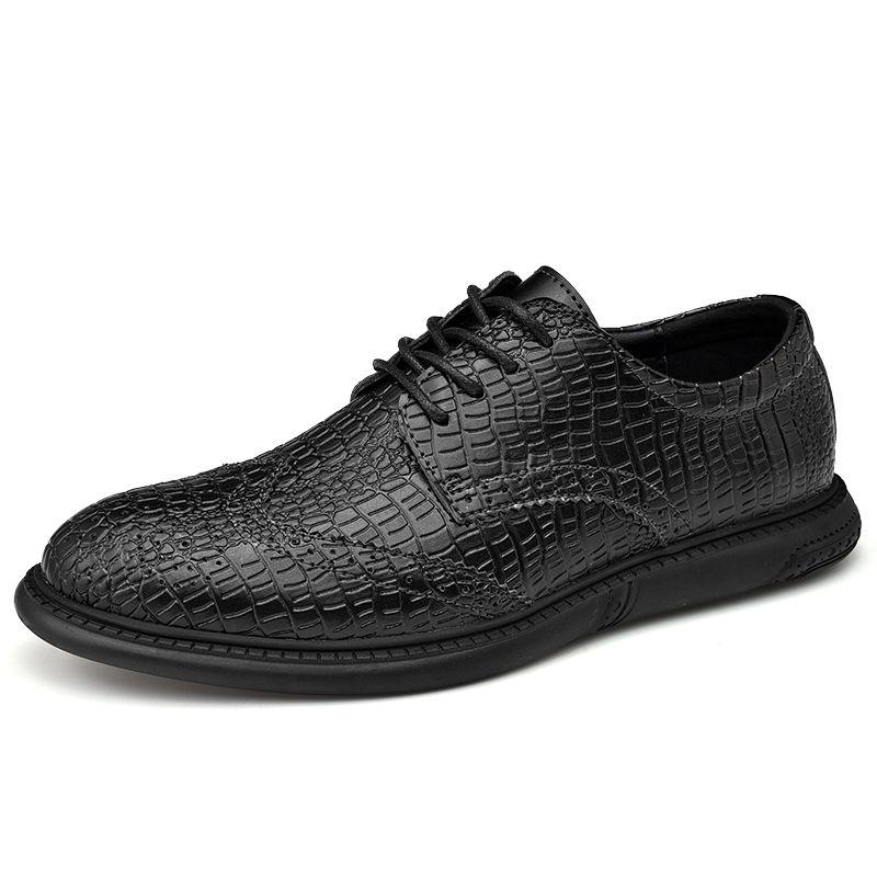 Scarpe commerciali Fashion Trend coreano britannico Scarpe Uomo Primavera Autunno vera pelle traspirante Appartamento Business Casual Shoes Uomini%