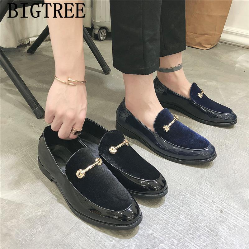 Oxford Mens elegant für Männer Leder Art und Weise Loafer Kleid Schuhe Schuhe Hochzeit Männer blau zapatos charol hombre 2019