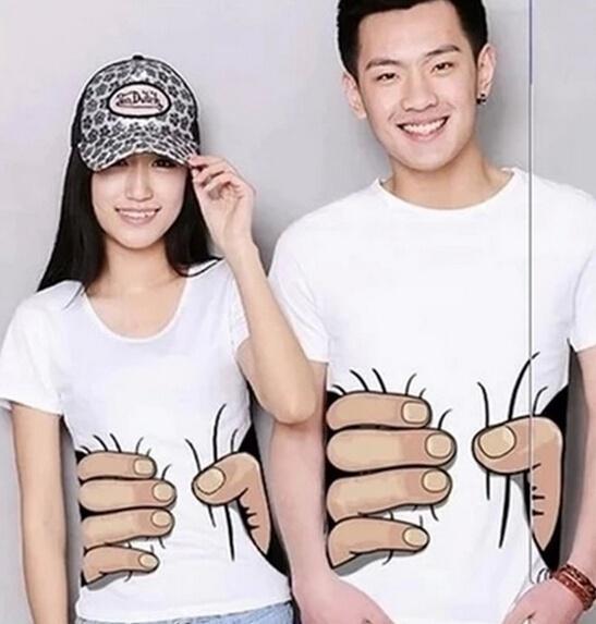 Men&Womens Plus Size S M L XL XXL Unisex Big Hand Printed Funny Catch You Cotton Short Sleeve T-shirt Couple Tops Casual Blouse