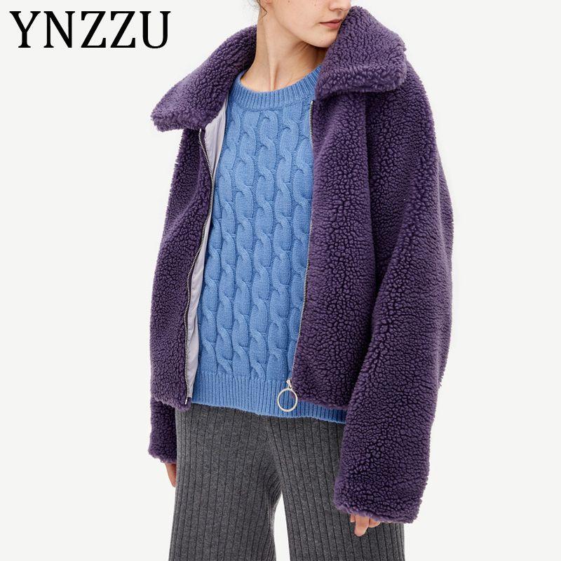YNZZU 2019 Autumn Winter Purple Elegant Faux Fur Coat Women Warm Soft Lamb Fur Jacket Female Overcoat Pocket Teddy Outwear A1206 SH190930