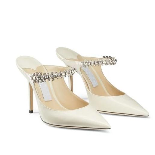 Top grade Linen Patent Leather Mules with Crystal Strap 7cm 10cm Designer Heel With Box eu 34 to 40 tradingbear