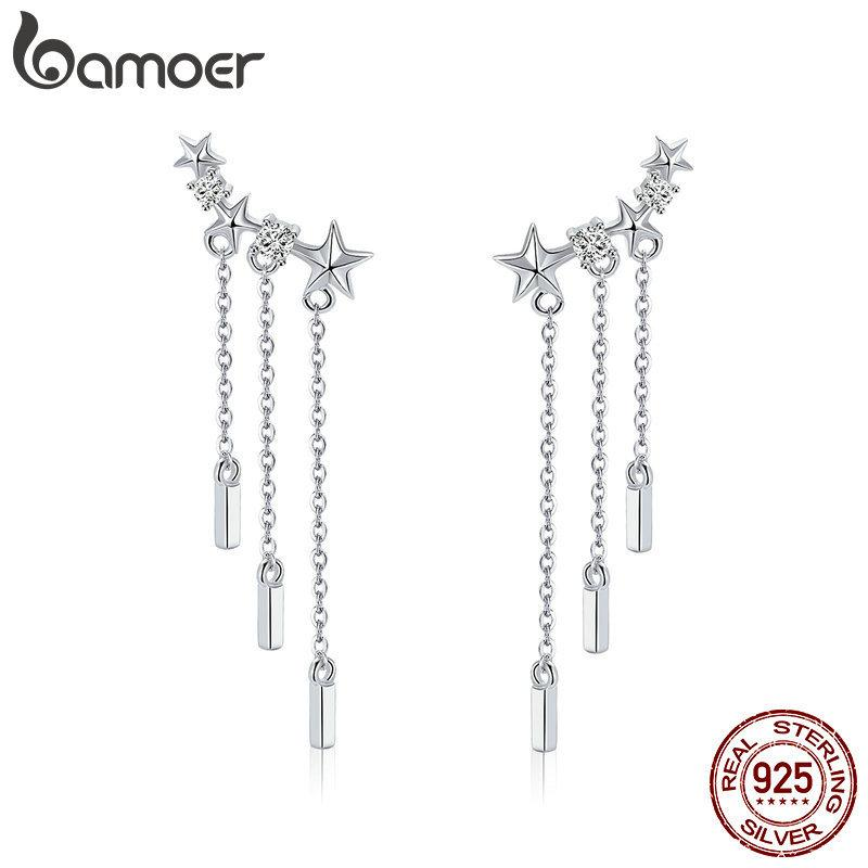 BAMOER Genuine 925 Sterling Silver Long Chain Star Dazzling CZ Drop Earrings for Women Fashion Earrings Silver Jewelry SCE399 LY191217