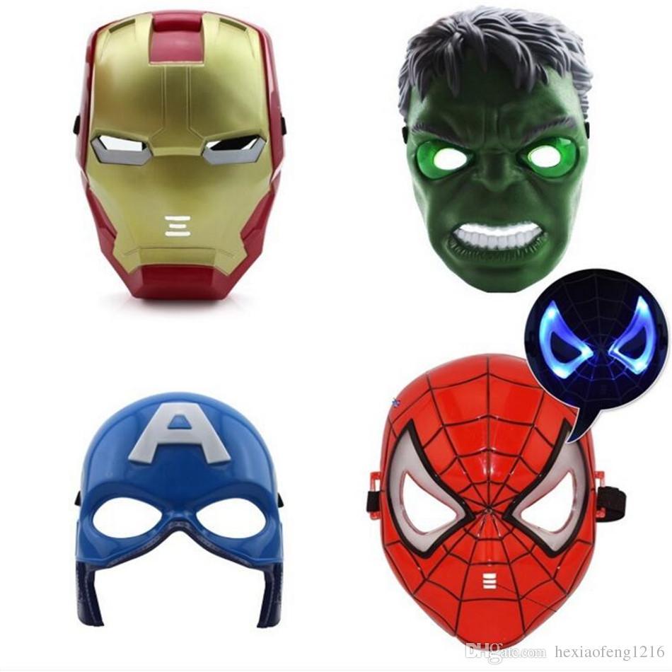 LED Luminescence Mask Super hero Hulk/American captain/Iron Man/Spiderman Party Halloween Costume Mask Children toy A2254c