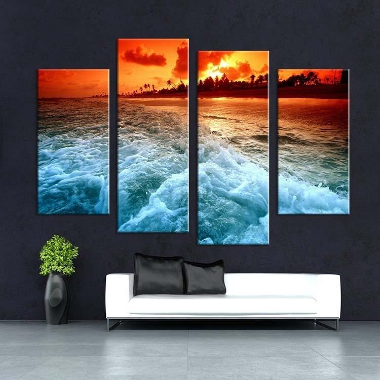 4pcs Best Selling Tropical Sunset Wall Painting Print On Canvas For Home Decor Ideas Paints On Wall Art Pictures