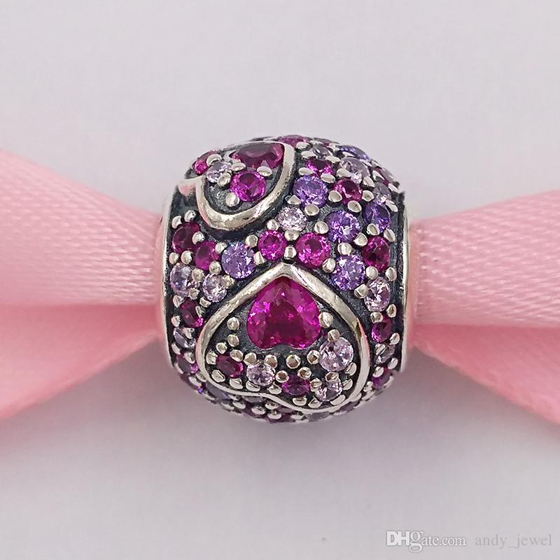 Authentique Argent 925 Perles Coeurs asymétriques de l'amour charme, rose rouge Cz, Cristaux Royal Purple Charms Pandora style européen Fits
