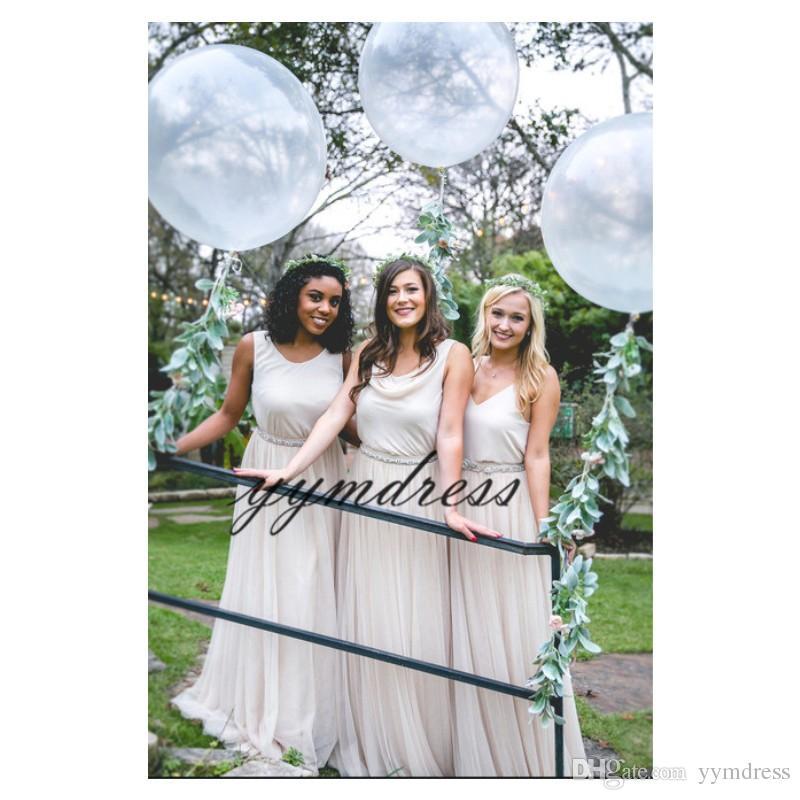 2019 Платья для подружек невесты V-образным вырезом шифоновое длинное платье фрейлина Дешевые на заказ плюс размер горячие продажи вечерние платья