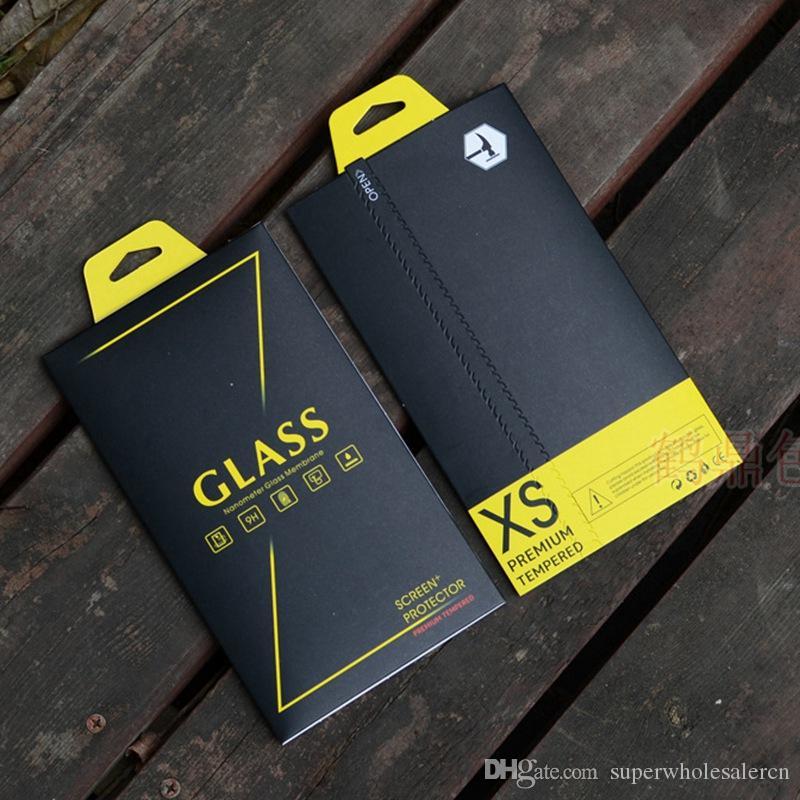 Temperli Cam Ekran Koruyucu 6 Renkler Kağıt Evrensel Perakende Ambalaj Kutusu iPhone 12 11 Pro XS MAX XR 8 7 6 S Artı Samsung Huawei Film