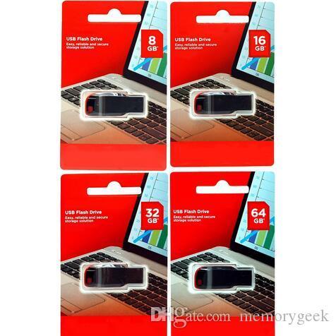 100% Hot Selling 64GB 128GB 32GB 16GB 8GB 4GB USB 2.0 usb flash drive pendrive memory disk retail blister package