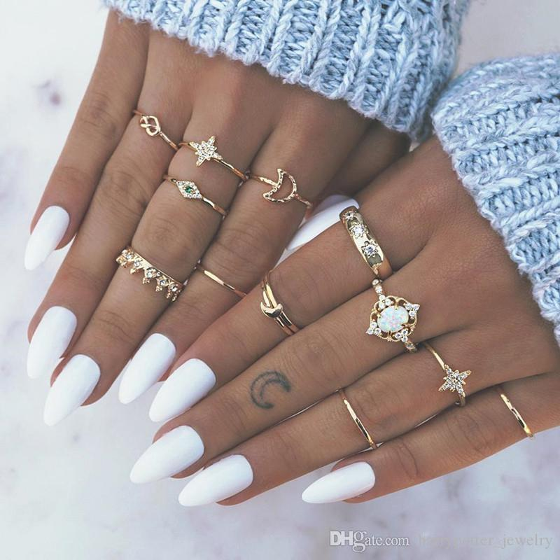 Crystal Gold Knuckle Ring Set Diamond Crown Bow Moon Star Rings Combination Stacking Ring Midi Rings Women hip hop Jewelry drop ship