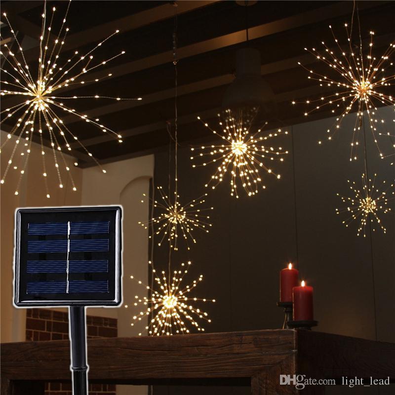 Fai da te Fireworks solare luci della stringa di 8 modi di 120/160/200 LED lampada solare esterna per la decorazione del giardino Bouquet Natale di festa natalizia