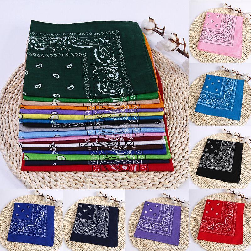 19 colores más nuevo 100% mezcla de algodón Hip-hop pañuelos impresos para la venda femenina masculina para las mujeres / hombres / niños / niñas bufandas pulsera