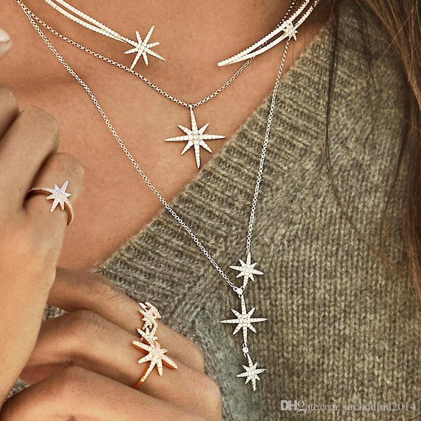 Ins più venduti Nuovo monili di lusso Otto collana della stella Pave CZ bianca braccialetto di diamanti puri Jewelry Set 925 asimmetria orecchini