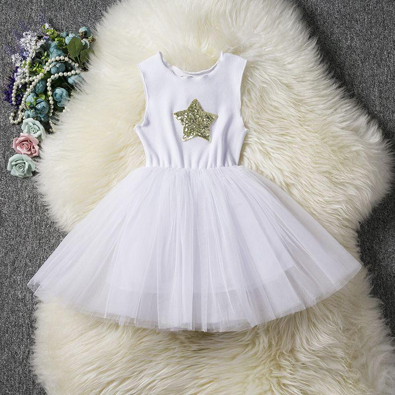 Detaliczna Dzieci Dziewczyny Sukienki Wszystkie Star Cekiny Kamizelka Księżniczka Sukienka Cute Torddle Summer Bez Rękawów Bawełniane Tutu Sukienki Dzieci Odzież Boutique