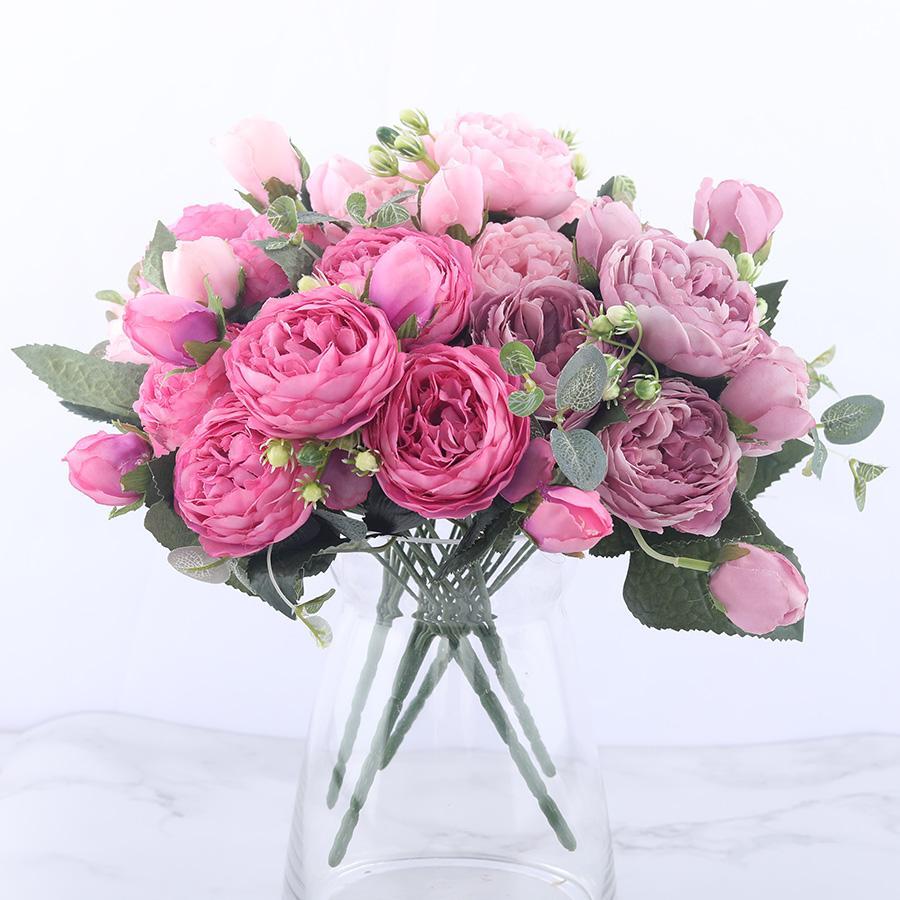 30 cm Gül Pembe Ipek Şakayık Yapay Çiçekler Buket 5 Büyük Baş ve 4 Tomurcuk Ucuz Sahte Çiçekler Ev Düğün için Dekorasyon kapalı