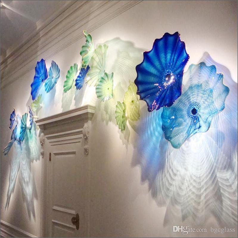 Mar Mediterraneo a mano soffiato, arte in vetro per la decorazione a parete Flowerwall Chihuly Style Multicolor in Vetro di Murano lampade da parete Piastre Hanging