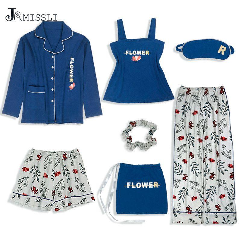 JRMISSLI 2019 Ropa de dormir de algodón 7 Piezas Conjunto de pijamas Mujeres Otoño Invierno Conjuntos de pijamas Sexy Trajes de dormir Ropa de dormir suave Regalo para el hogar