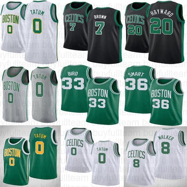 제이슨 0 테이텀 NCAA 래리 (33) 새 Jaylen 7 브라운 Kemba 8 워커 고든 (20) 헤이워드 대학 마커스 (36) 스마트 농구 그린 화이트 유니폼