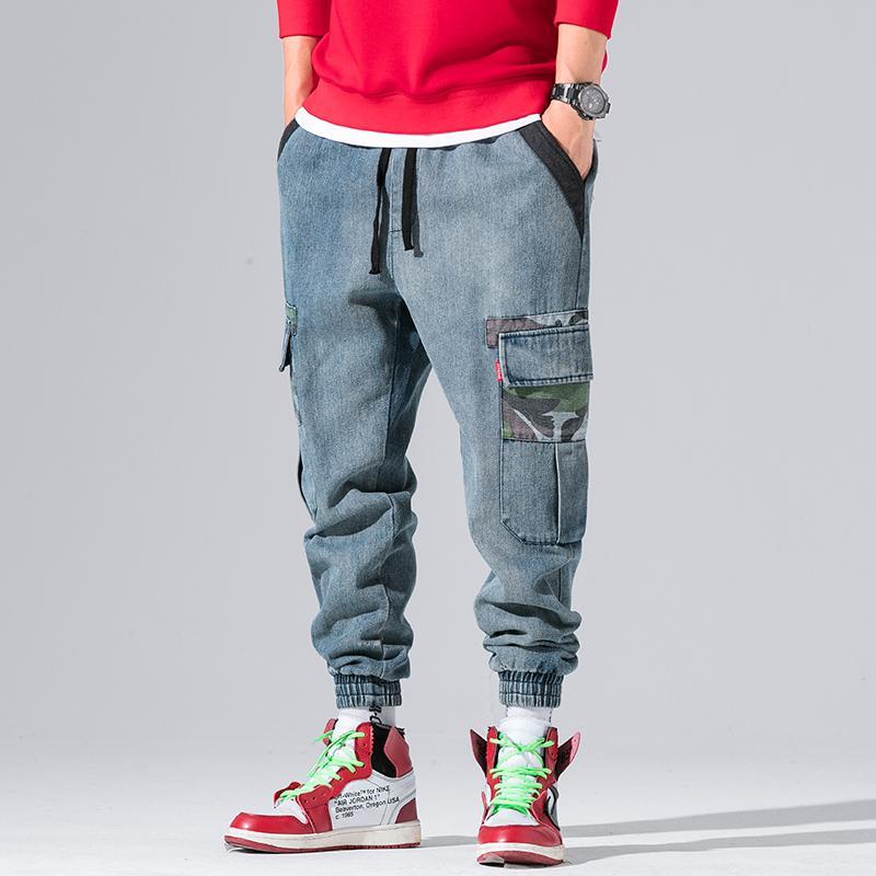 2019 New Arrival Vintage Buraco multi bolsos de carga Estilo Jeans Men Outono High Street Fashion Casual Denim Jeans Mens Streetwear