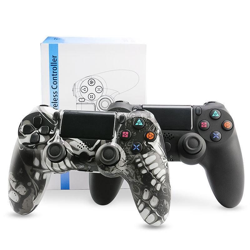 ل ps4 psp مزدوجة صدمة الاهتزاز joystick بلوتوث اللاسلكية المحمولة ألعاب تحكم التمويه usb chargble vedio console