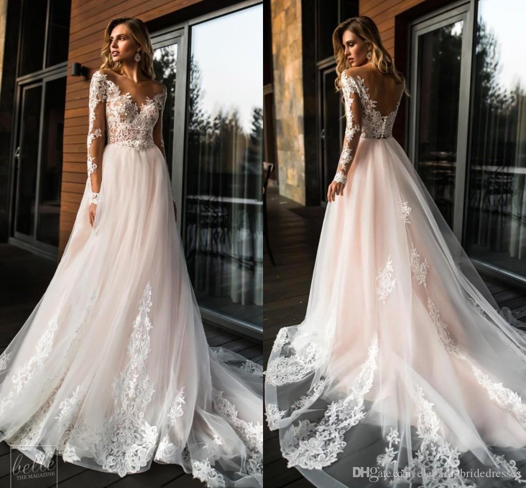 2019 Superbe Sheer manches longues en dentelle robes de mariée Une ligne Tulle Robes de mariée mariage de plage d'été pas cher Custom Made taille plus