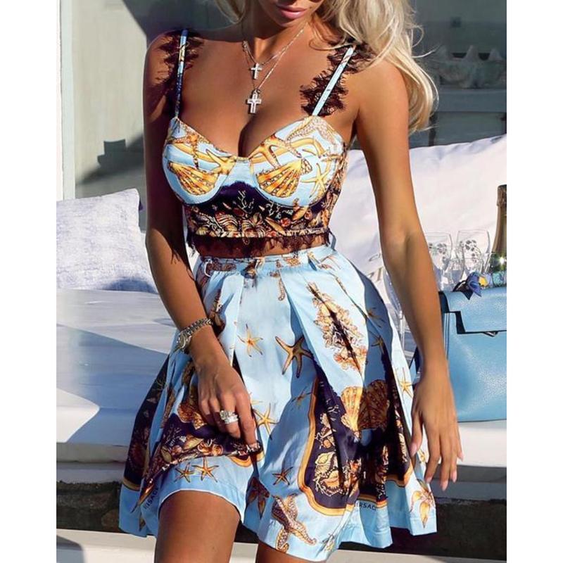 Lace Insert Stampa Cami Top gonna a pieghe senza maniche Set estate donne casuali Outfits 2 pezzi da T200603