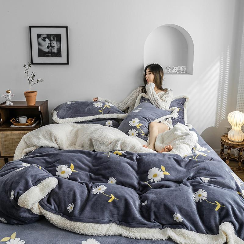 Winter flannel fleece bedding set 4pcs flat sheet duvet cover set cashmere Daisy bed linens AB side bedclothes pastoral bed set T200422