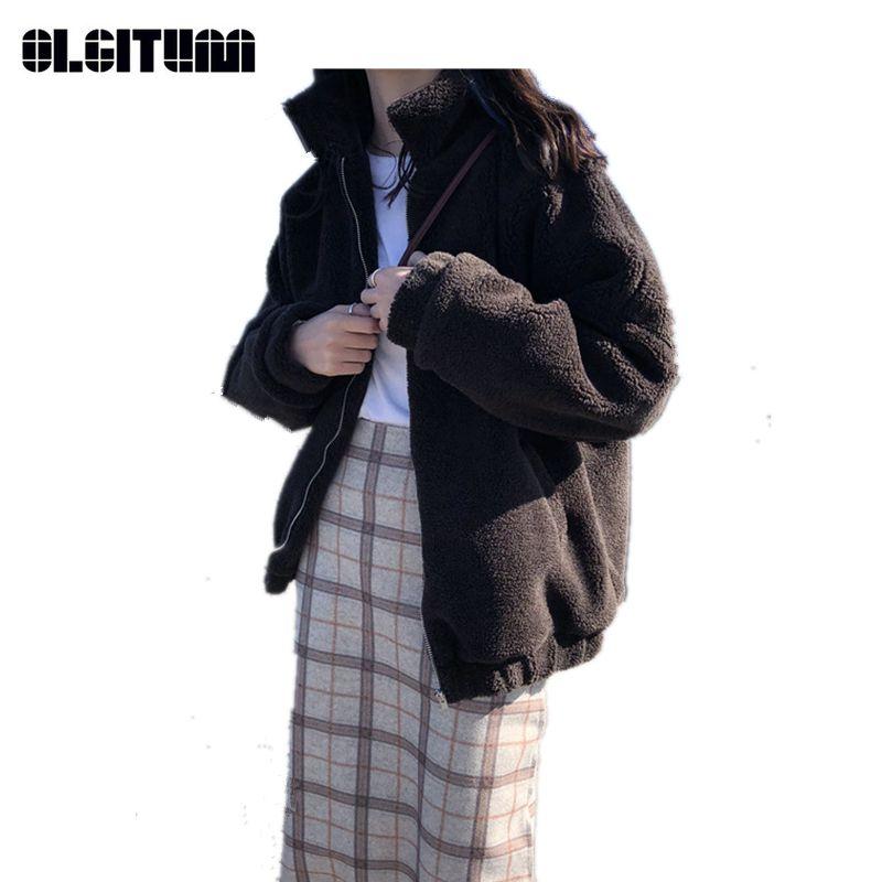 OLGITUM New 2018 Winter Stand Collar Thickening Lamb Women Cotton Coat Hooded Zipper Pocket Women Jacket CC923