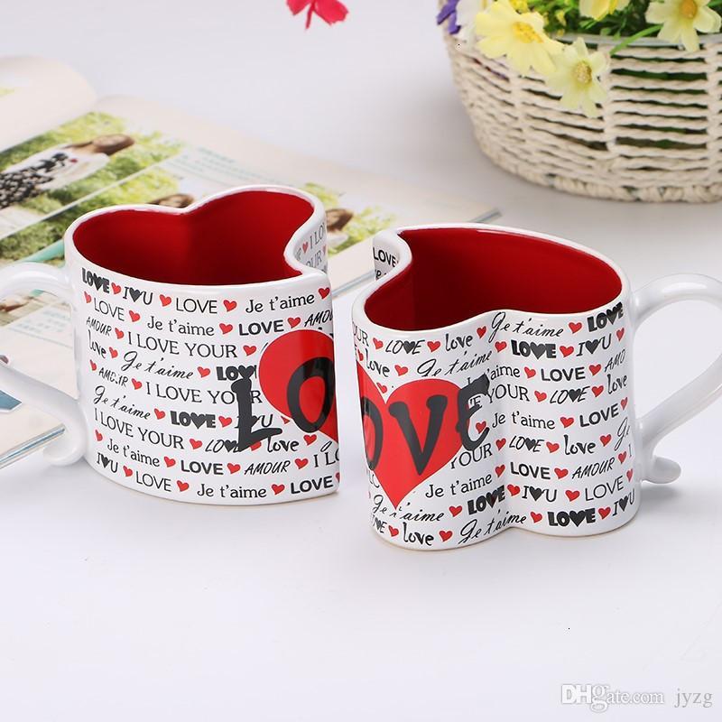 2PCS / مجموعة 12OZ الإبداعي عيد الميلاد السيراميك كأس الحب زوجين كأس الشرب الحاضر هدية عيد الحب
