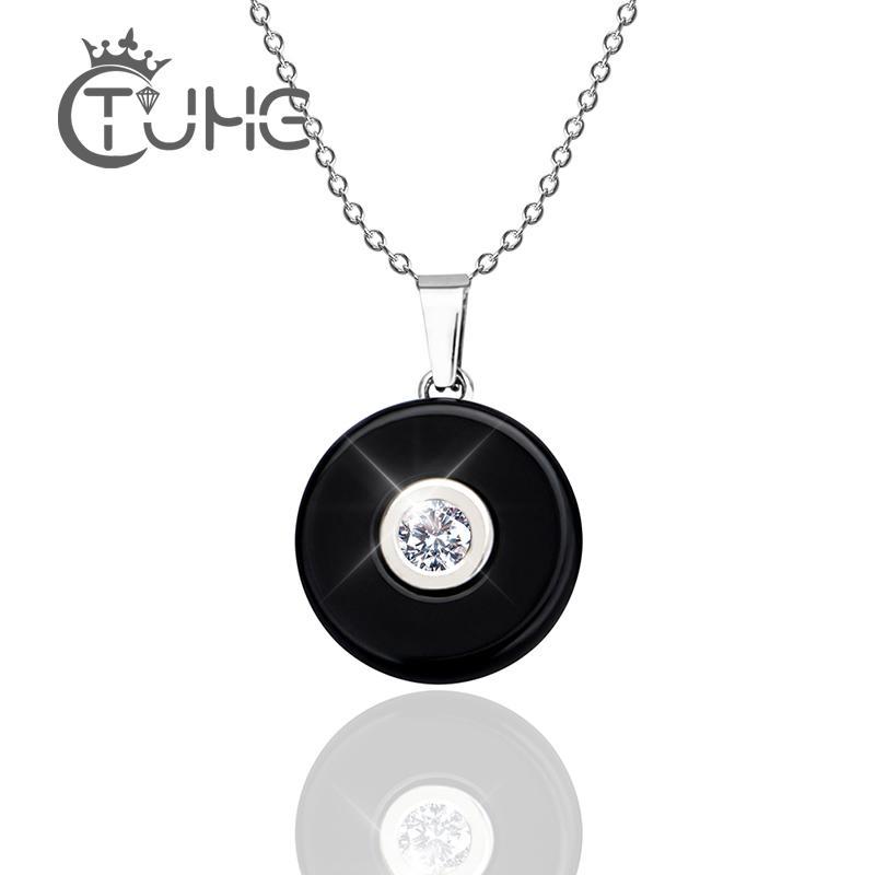 Кулон Ожерелье Женщины Ювелирные Изделия 2020 Мода Золотой Цвет Нержавеющая Сталь Керамическое Ожерелье Женщины Рождественский Подарок