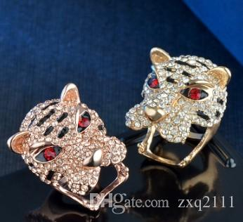 Neuankömmling Damen Damen Modeschmuck Tigerkopf Diamant Ring Geburtstag Neujahr Geschenk
