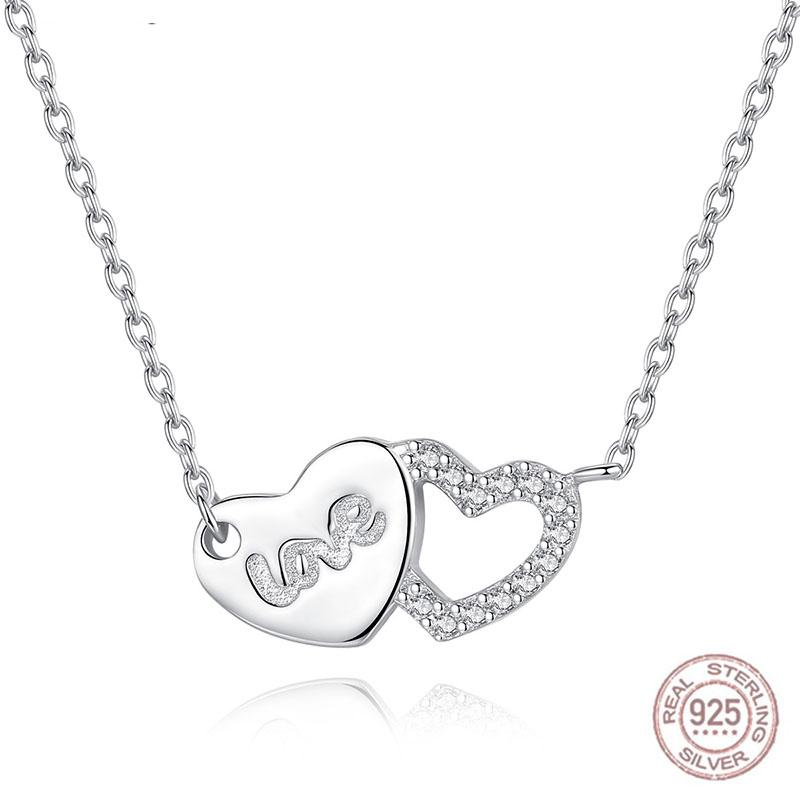 2020 925 Sterling Silver Love Connected Heart Choker Necklace Silver Pendant Chain Necklaces Girls Fashion Jewelry Gift Collier Femme From Homejewelry 29 17 Dhgate Com