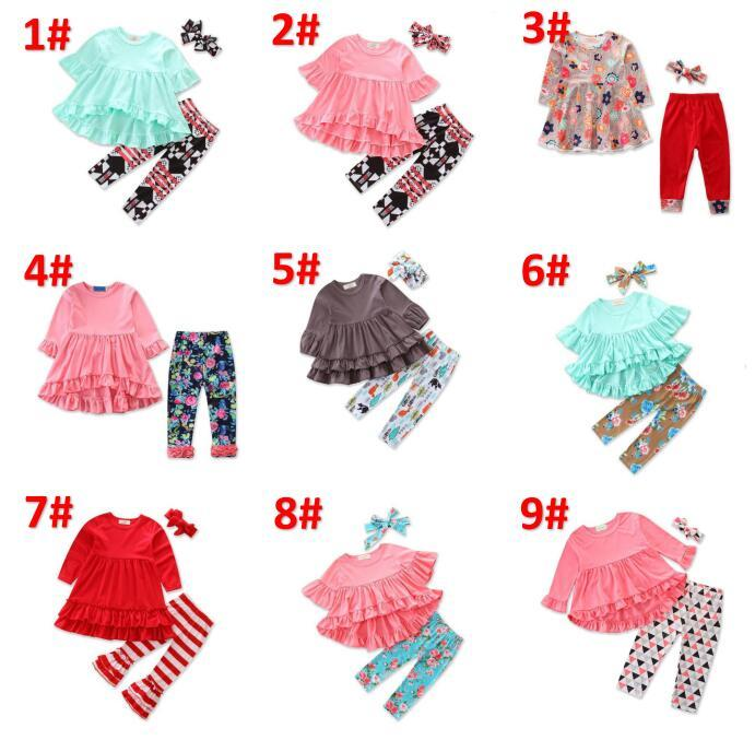 Baby Girls Back to School Outfits 36 Designs Tops Pants Headbands Scarfs Bunny Striped Unicorn Flora Big Sisiter Kids Clothing Sets BY0706