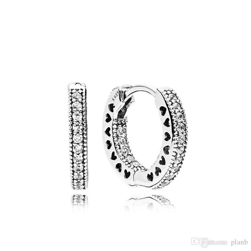 Orecchini a cerchio cuore pavé di scatola originale per Pandora Argento 925 Anello piccolo orecchio per l'orecchino delle donne degli uomini