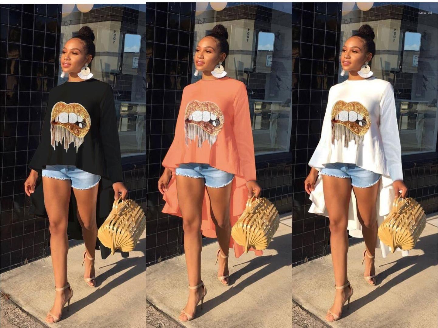 Diamond Lips Womens Tshirt Summer Womens Designer T Shirts Fashion Casual Ladies Designer Luxury Clothes Sequins Online T Shirts Buy In T Shirts From Pantaloni 17 88 Dhgate Com