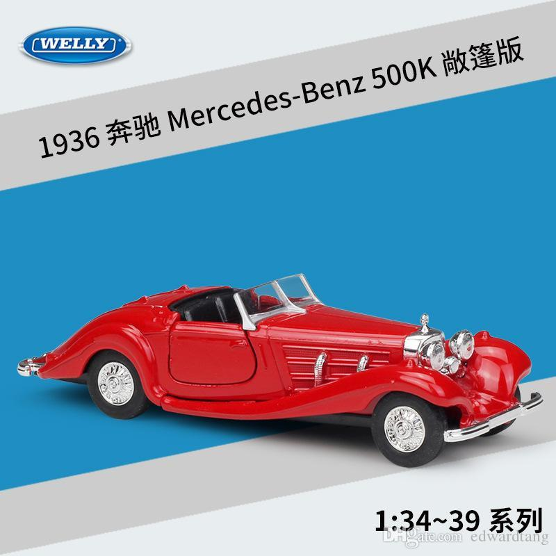 WELLY Alloy Car Model Toy, Mercedes-Benz 1936 500K Convertible, Vintage Car, High Simulation, for Kid' Birthday' Gift, Collecting,Decoration