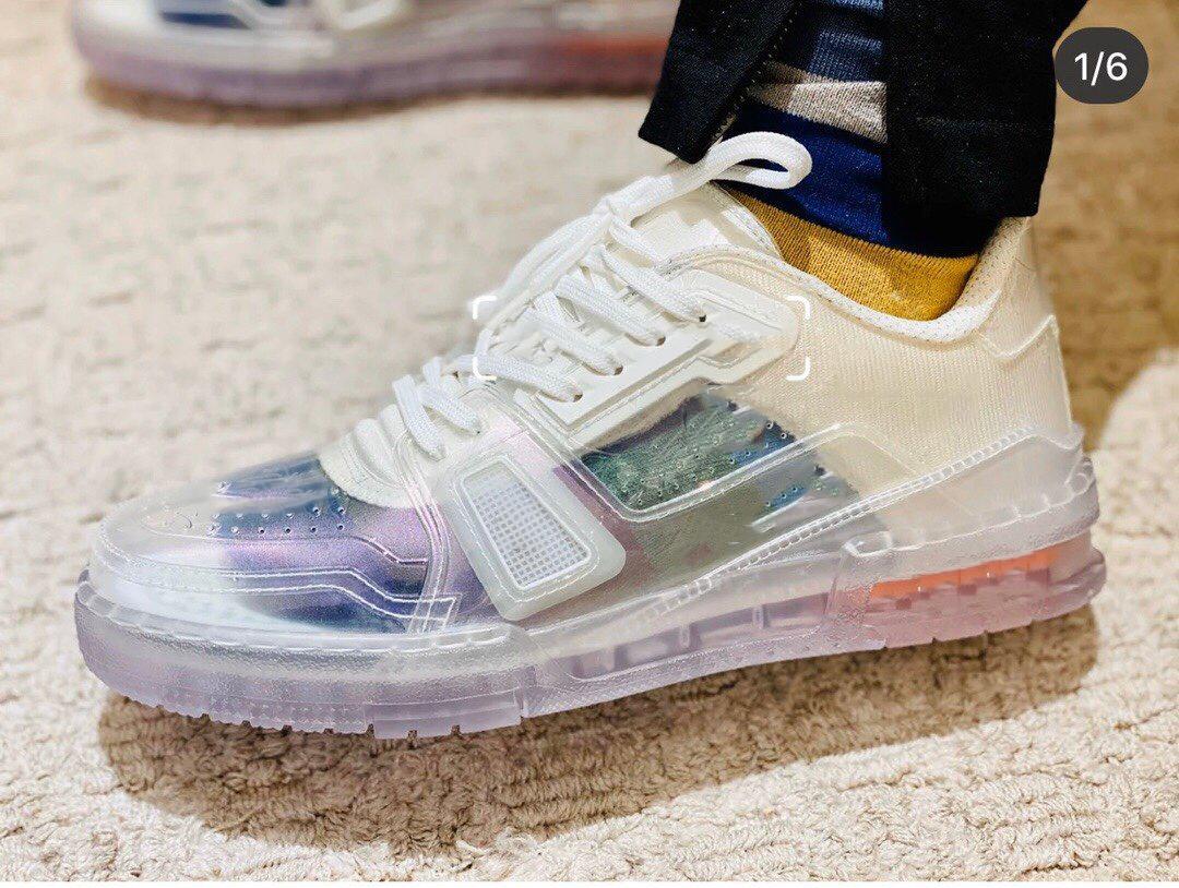 2020 Nuovo arrivo caldo il progettista del mens trasparenti scarpa da tennis delle scarpe da tennis dal design di lusso per gli uomini scappano modo casuale scarpa Chiaro
