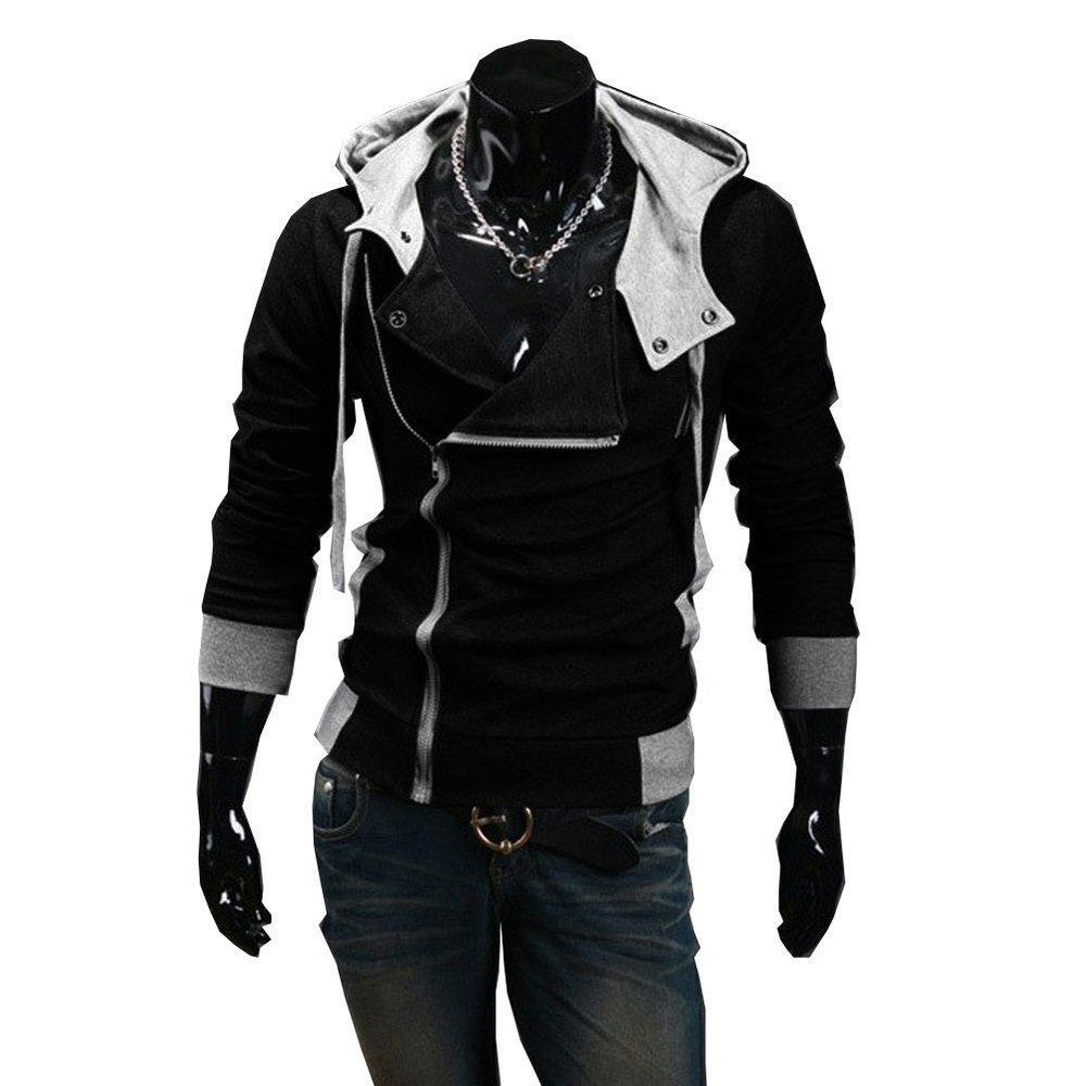 Wholesale- Autumn & Winter Oblique Zipper Casual Slim long sleeve hiphop Assassin Creed Hoodies Sweatshirt Outerwear Jackets Free Shipping