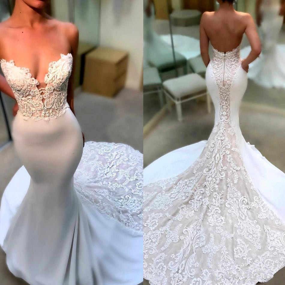 우아한 Strapless 레이스 인어 웨딩 드레스 2020 Applique Sweep Train 결혼식 신부 가운 가운 드 마리레